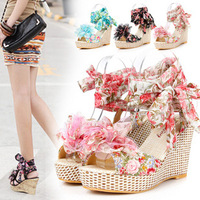 Free Shipping 2013 bohemia platform sandals cutout women's high-heeled open toe shoes wedges platform shoes