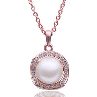2013 new plated 18K rose gold inlaid rhinestones crystal & shell pearl pendant necklace fashion woman jewelry 18K N503 best gift