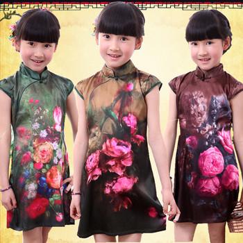 Free shipping elegant retro art girls dress children dress elegant cheongsam dress costume show