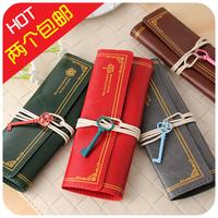 LZ bags Vintage brief key lashing pencil case PU pencil bag stationery storage 20*22cm