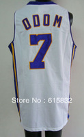 Free shipping Cheap Wholesale Men's Basketball Jerseys # 7 Odom White Basketball Jersey High Quality Size:S-XXXL