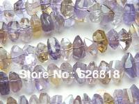 Free shipping top quality  ametrine freeform  8*16mm  european beads purple clear crystal