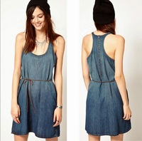 CL493 European style Famous brand Dress Denim tank Cinch Cotton Flounced  Spring Summer fall women lady Drop shipping