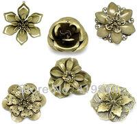 Free shipping-30Pcs Mixed Antique Bronze Filigree Wraps Connectors Embellishments Jewelry Findings 4cmx4cm-5.9cmx5cm M01064