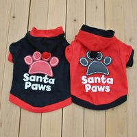 Cute Pet Puppy Dog Shirt Black Santa Paws Prints T-Shirt t shirts Clothes With Hat #9567