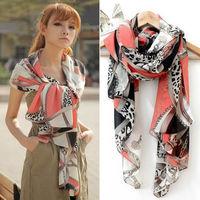 Big promotion 2013 chiffon all-match multi-element leopard print chain heart pendant scarf silk scarf cape 165x70cm