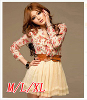6040 womens Korean gentlewomen chiffon patchwork yarn one-piece dress with belt