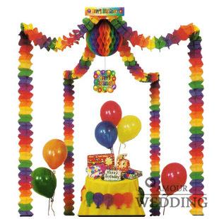 For dec  oration garland birthday wedding decoration supplies wedding supplies a big ball + four colored garland  3.6 meters