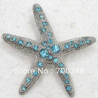Wholesale 12piece/lot Aquamarine Crystal Rhinestone Starfish Pin Brooch Star Fashion Brooches jewelry Gift C949 R