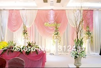 Free shipping Top selling sweet pink and ivory backdrop curtains for wedding party decorations, gergeous wedding backdrops