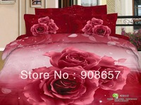 new 500 TC red rose flower oil painting printed cotton 3D bedding set girls bed sheets full queen bed linens quilt duvet covers