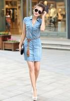 Fashion denim dress 2013 new hot sale v neck short sleeve business work office mini dress free shipping