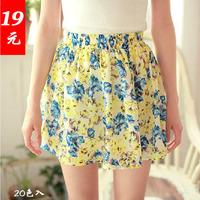 2013 floral print dress slim hip skirt bust skirt summer puff skirt medium skirt pleated chiffon short skirt