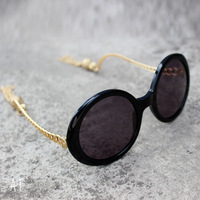 House of harlow 1960 sasha tassel vintage round box Women sun glasses