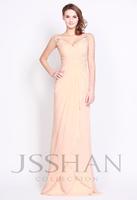 12P087 Straps V-Neck Appliqued Satin Chiffon Princess Elegant Gorgeous Luxury Unique Prom Evening Dress Fancy Dress Party