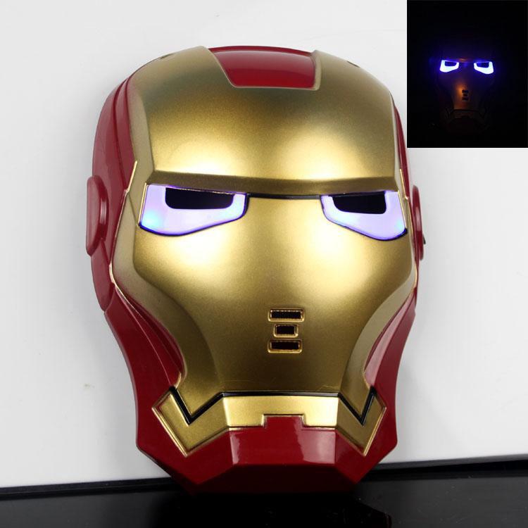 Led brilho herói The Avengers Iron Man máscara do partido presente de aniversário(China (Mainland))