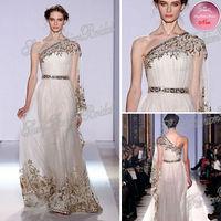 2013 Sexy New One-shoulder A-line With Applique Natural Waist Floor length Zuhair Murad Dress Evening Dresses