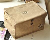 Zakka corchorus fabric storage box desktop storage box sorting bags basket