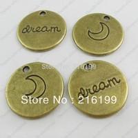 Whosesale  Vintage Bronze Tone Alloy Round Dream Word Charm Pendant Finding 30PCS 37777