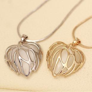 Fashion Cat-eye gem jewelery Love heart rhinestone Maple Leaf pendant necklace female NL175