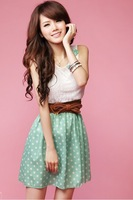 New Korean Fashion Cute Style Women's Ladies Polka Dot Dress Sweet Lovely Mini Dress Green Chiffon + Lace Top Free Shipping