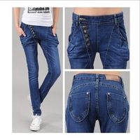 Free shipping! hot sales Korean show thin elastic double-breasted haroun pants jeans trousers little pencil pants