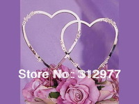 Wholesale 20pcs/lots Shiny Metal with Swarovski Rhinestone Wedding Cake Topper Double Heart