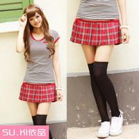 2 2012 summer women's japanese style plaid pleated miniskirt short skirt bust skirt
