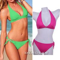 2014 Sexy Women Strappy Push-Up Padded Top&Bottom Swimwear Swimsuit Bathing Suit Bikini Tankini S M L 4 Color Free Shipping 5301