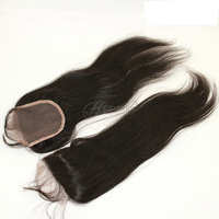 Cheap full lace closure piece NATURAL COLOR can be dyed straight 4x4 top wig closure virgin hair closure