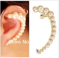 Min order is $10(mix order) Personalized pearl gentlewomen earrings stud ear hook half moon shape ear cuff clip earringsEH479