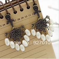 Min order is $10(mix order) Fashion vintage retro jewery flower pearl earrings dangle drop earring women EH025
