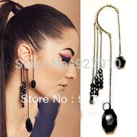 Min order is $10(mix order) Fashion punk black gem tassel pendant ear hook earrings drop earrings ear cuf elf  WOMEN