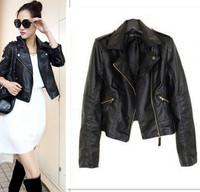 New Autumn 2014 Women jaqueta couro Rivets PU Motercycle Leather Zipper Short Jackets Coats for Woman