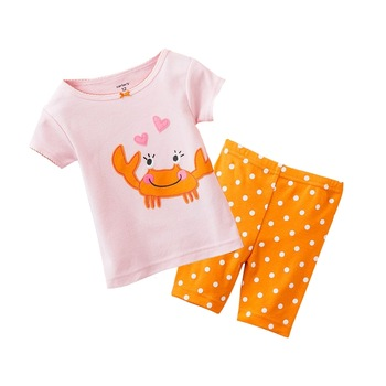 baby summer sweet short suits girl's tshirt + pant 2pcs cotton garment baby homewear free shipping