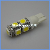 300 pcs fedex dhl free shipping led 9 smd 5050 led reading light  white T10 194 168 192 W5W 5050smd super bright led  wedge lamp