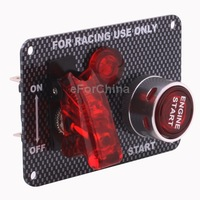 Carbon Fiber Flip-up Start Ignition Switch Panel and Accessories for Racing Sport (DC 12V) with LED indication light