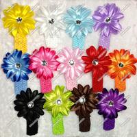 hair accessories 60pcs/lot Clip Lily flowers for headbands Diamond center Elastic Crochet Headbands baby kids photography props