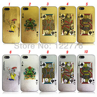 Chic Chrome Golden Silver Poker Joker Cards Plastic Case for iPhone 5 Case