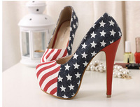 2013 latest sexy blue thick color block soles red soled high heels the flag high heels denim shoes  platform heels red bottoms