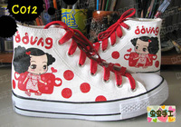 Medium cut hand-painted shoes graffiti shoes canvas shoes female - - c012
