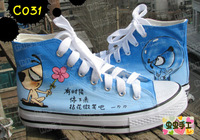 Medium cut hand-painted shoes graffiti shoes canvas shoes female - - c031