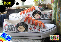 Low hand-painted shoes graffiti shoes canvas shoes female - - b011 music girl