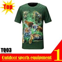 Super Deal! TQ03 2013 New Quick Dry 3D Men Short Sleeve Top The Green Tiger 3D Print T-shirt Plus Size M L XL XXL