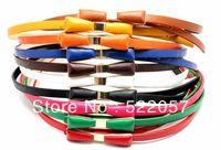Decorative thin belt candy color fashion female Korean wild retro bow belt girdle Korean female models HF01 Free shipping