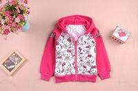 New 2013 Hello Kitty Cats Hoodie Sweatshirts For Girls Autumn Winter Long Sleeves Cardigan Girls Kids Hoodies Free Shipping