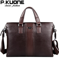 P.Kuone designer brand 100% cowhide men genuine leather handbags man leather business briefcase men's messenger bags