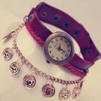Fashion women's watch beauty head bracelet watch school wear table vintage table female