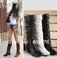 free shipping Snow single female boots spring and autumn flat heel flatbottomed high-leg boots white black brown