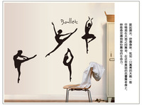 Black Dancing Ballet Girls wall sticker, children's room Vinyl home decor Wall Art Decals Free Shipping